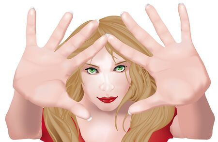 gesturing: Beautiful girl with palms of hands over her face