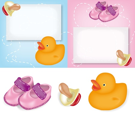 Greeting cards for birth announcement for baby boy and girl with pacifier, rubber duck and small pink shoes Vector