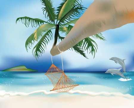 hammock hanging from a palm tree with jumping dolphins Stock Vector - 14163880