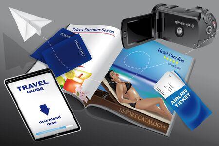 休暇に向けて出発: パスポート、航空券、ビデオカメラやリゾート カタログ