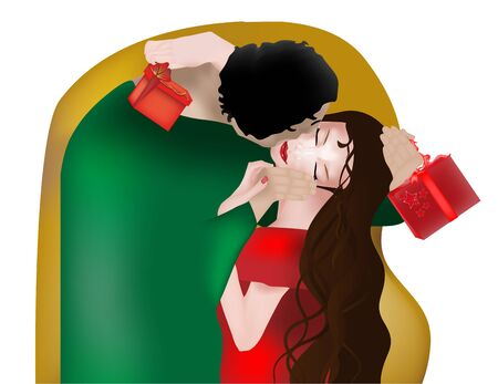 Reinterpretation of the famous Klimt painting, Christmas or Valentine version Vector
