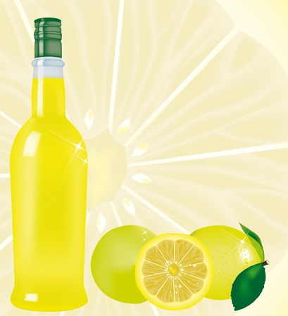 sorrento: bottle of limoncello with lemons