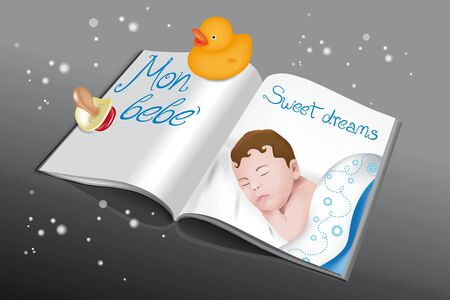 Magazine for babies with asleep baby boy, pacifier and rubber duck Vector