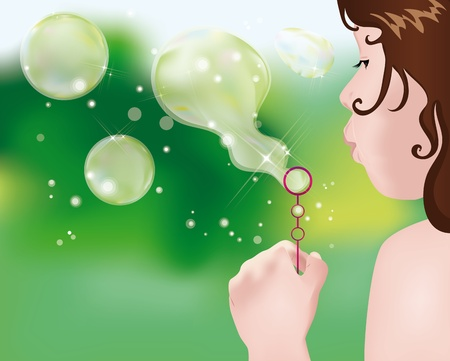 little girl playing in the garden making soap bubbles Vector