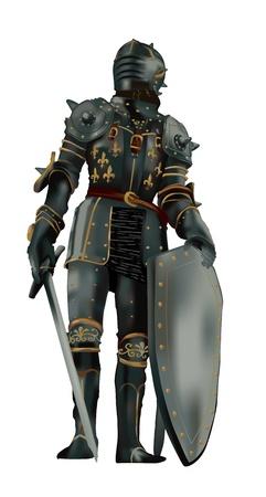 espadas medievales: caballero medieval con armadura de cuerpo entero sobre fondo negro,
