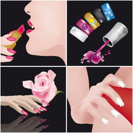 4 images regarding manicure and nails art Vector
