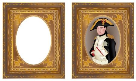 napoleon: illustratie van Napoleon Bonaparte in een prachtige frame en geïsoleerde frame zonder inhoud