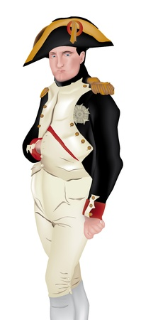 napoleon: illustration of Napoleon Bonaparte, isolated on white background
