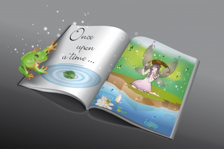 story book: Fairytale book with little frog and fairy in the rain reflected in the pond