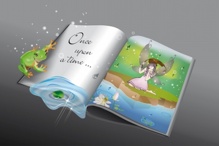 Fairytale book with little frog and fairy in the rain reflected in the pond Vector
