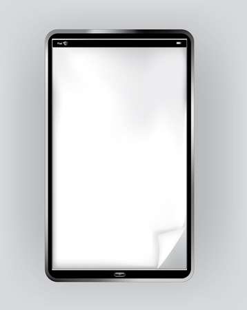 orientation: Pad or Pc Tablet in vertical orientation with dog-ear  corner page