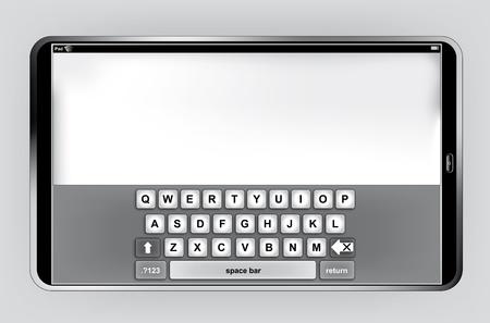 Pad o PC Tablet en orientación horizontal con teclado virtual Ilustración de vector