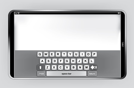 Pad or Pc Tablet in horizontal orientation with virtual keyboard