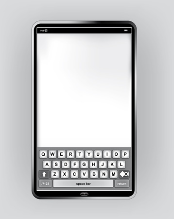 Pad or Pc Tablet in vertical orientation with virtual keyboard Vector