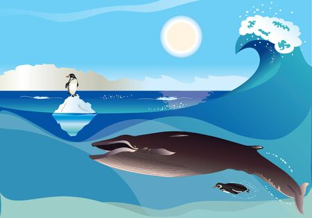 cartoon whale: Polar scenery with penguins and whale with simple gradients