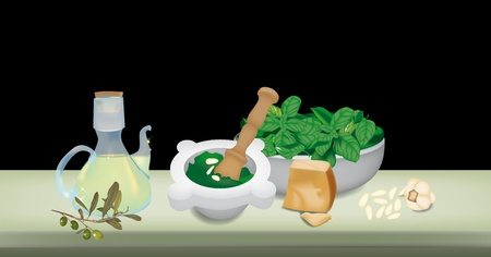 Ingredients for pesto sauce on the table; italian recipe Vector