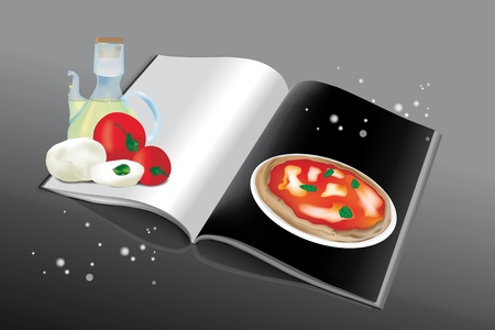 cruet: Cookbook for pizza with ingredients and blank page for recipe and for all purposes