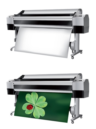 impresora: Plotter con rollo de papel no se imprimen y se imprimen con la mariquita en el trébol de cuatro hojas Vectores