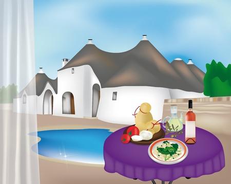 main dishes: Paisaje de Puglia, con Trullis y productos t�picos Vectores