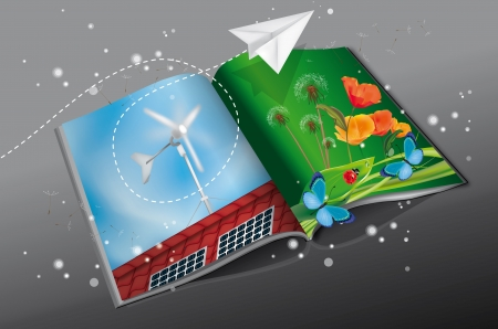 Renewable Energy Magazine with solar panel and windmill printed Vector