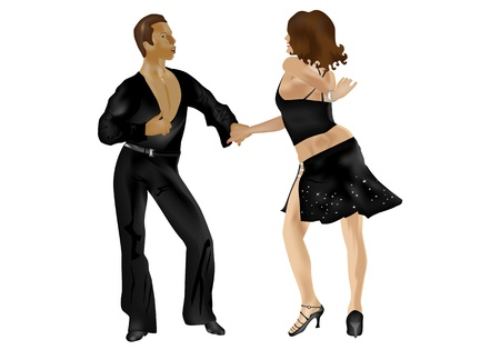 salsa dance: Dancing couple in salsa exibition isolated on white background