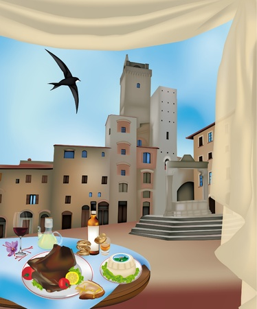 View of San Gimignano, Siena, Italy and typical Tuscan products
