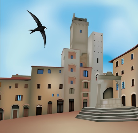rural scenes: View of San Gimignano, Siena, Italy Illustration