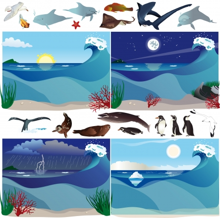 ocean storm: Sea scenarios with various marine animals Illustration