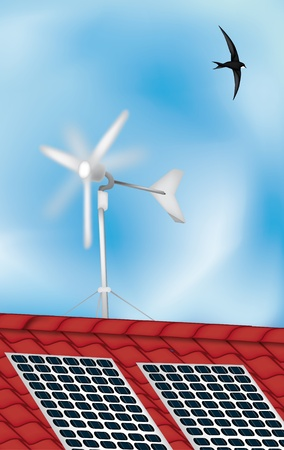 solar panel roof: solar panel and windmill on the roof, renewable energies