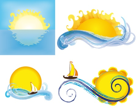yellow boats: Logos with sun and waves of the sea, isolated on white background