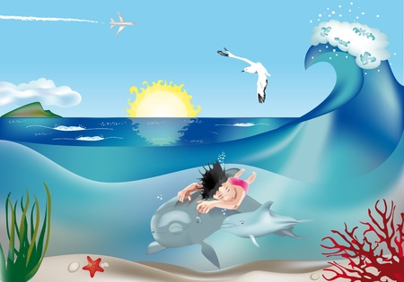 Swimming child with dolphins underwater in marine scenery Vector