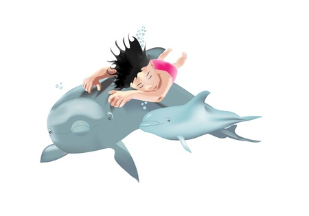 Swimming child with dolphins isolated on white background