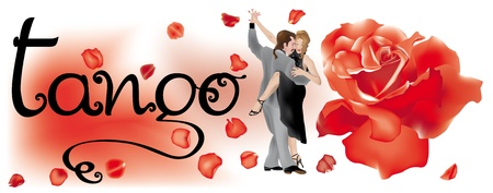 Couple of tango dancers with red rose and petals