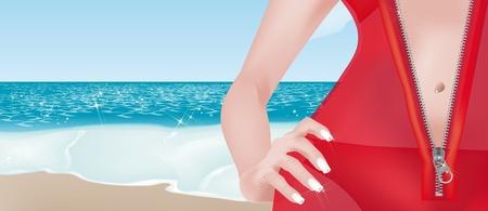 strass: Sch�ne M�dchen mit transparenten roten Kleid mit Rei�verschluss am Strand Illustration