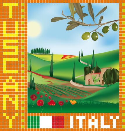 Tuscan landscape with traditional farmhouse, cypresses, vineyards and olive tree Illustration
