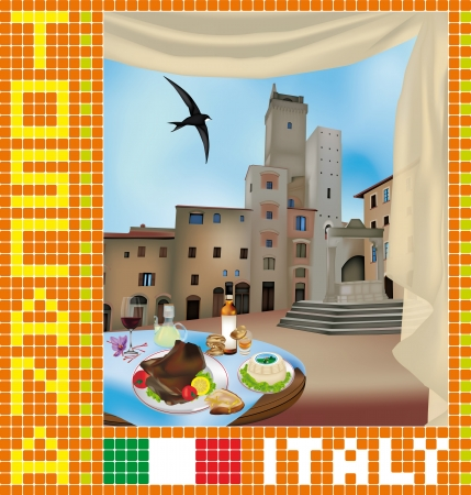Tuscan mosaic with view of San Gimignano, Italy Stock Vector - 14228638