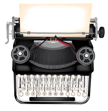m�quina de escribir vieja: m�quina de escribir con la hoja en blanco para todos los efectos