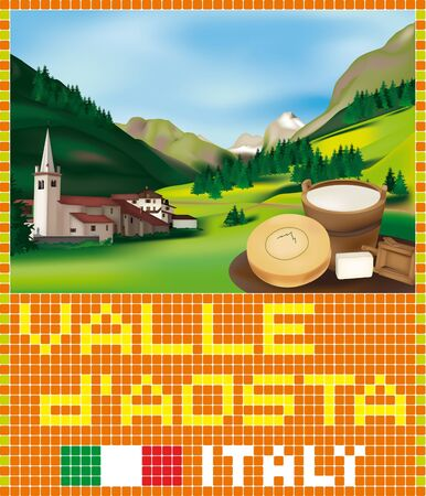 Valdaostan Mosaic: Rhemes Notre Dame, Alpine village in the Aosta Valley, Italy Stock Vector - 14228650