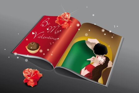 Magazine printed with reinterpretation of the famous Klimt painting, red roses and chocolate Vector