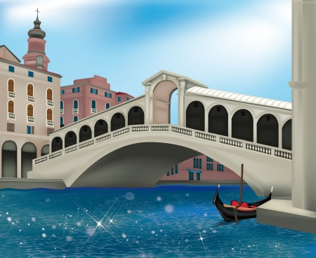 View of Venice with the Rialto Bridge Stock Vector - 14228587