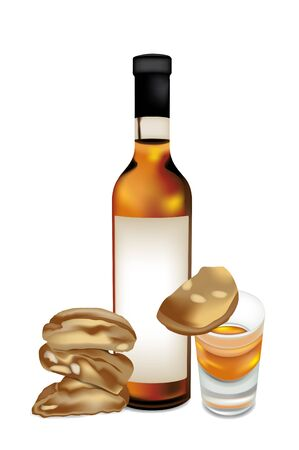 Vinsanto and almond biscuits Vector