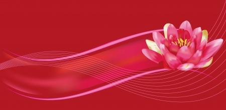 赤とフクシアの背景に水のユリ  イラスト・ベクター素材