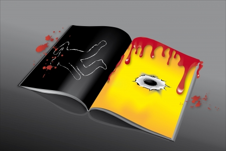 Detective story with blood, bullet hole and shape of dead body Vector