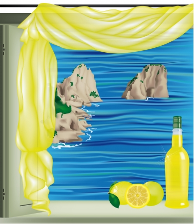 Window on Capri Bay with Faraglioni and Limoncello bottle on the sill Vector