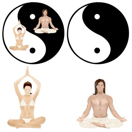 manos unidas: Pareja sentada con las piernas cruzadas durante los ejercicios de yoga Vectores