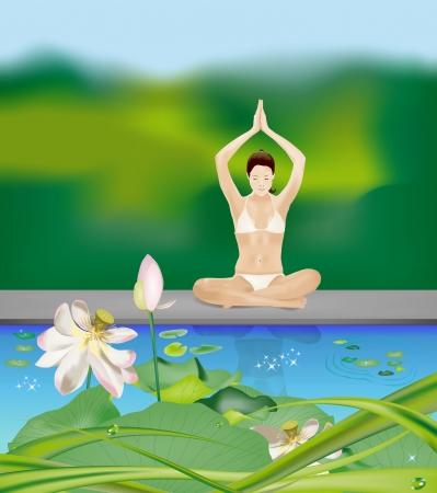 manos unidas: Ni�a sentada con las piernas cruzadas se dieron la mano sobre la cabeza durante los ejercicios de yoga en la orilla del lago Vectores
