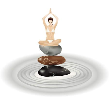 Young girl practising yoga in equilibrium on stones Vector