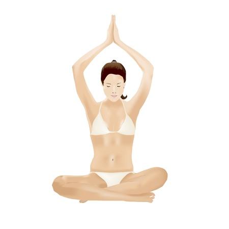 manos unidas: Joven mujer sentada con las piernas cruzadas se dieron la mano sobre la cabeza durante los ejercicios de yoga