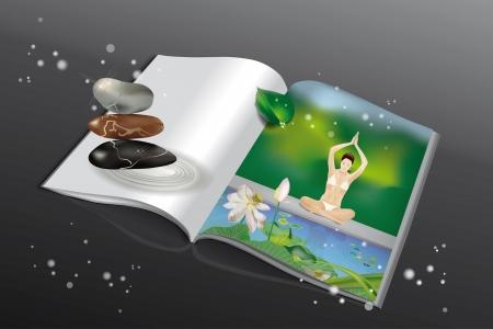 manos unidas: Revista de piedras zen y una ni�a sentada con las piernas cruzadas se dieron la mano sobre la cabeza durante los ejercicios de yoga en la orilla del lago Vectores