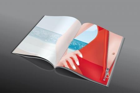 sun lotion: Revista de moda con la ni�a en la playa con un vestido rojo transparente en su bikini
